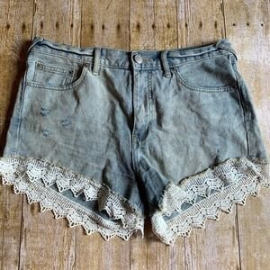 Free People FP Jean Shorts with Lace 29
